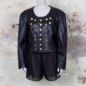 3285-kort-zwart-leren-jasje-double-breasted-gouden-knopen-eighties-vintage-1
