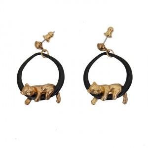 4468-zwarte-vintage-oorbellen-gouden-leeuwtje