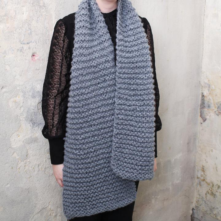 Uitzonderlijk Grijze wollen handgebreide sjaal - Froufrou's HC83