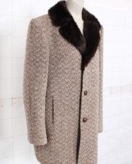 Vintage gemeleerde bruine wollen jas met bontkraagje