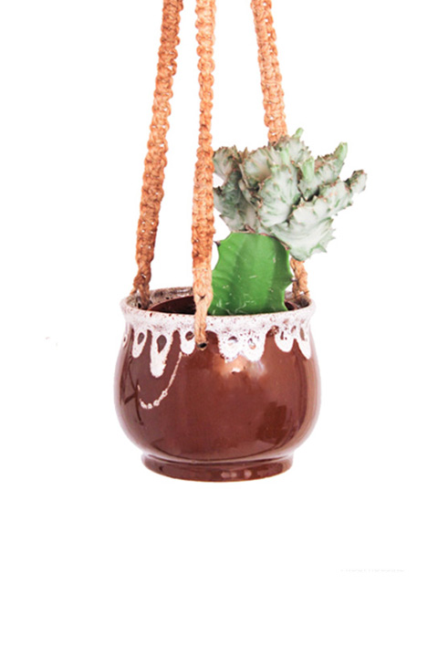 Vintage plantenhanger pot lava drip