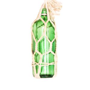 Vintage macrame fles groen