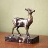 Frans vintage hert messing met marmer