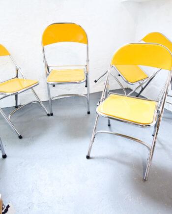 60s Gele metalen vintage opklapstoelen Samsonite