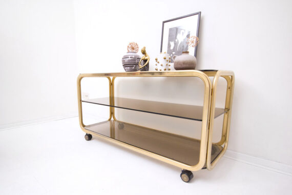 80s goudkleurige tv meubel