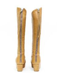 Acne laarzen sleehak lichtbruin leer met originele doos – maat 36