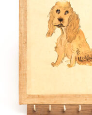 Antiek Japans schilderij Cocker Spaniël met kapstok