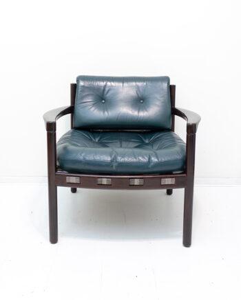 Arne Norell voor Coja Culemborg vintage fauteuil met groene leren bekleding