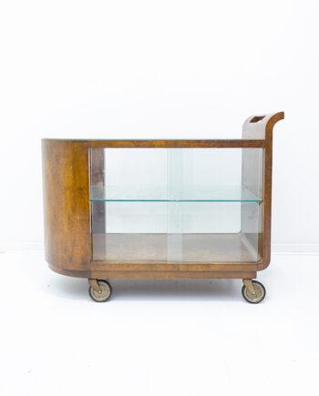 Art Deco serveerwagen van hout met glazen schuifdeuren antiek