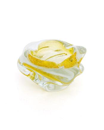 Asbak Murano glas geel vintage