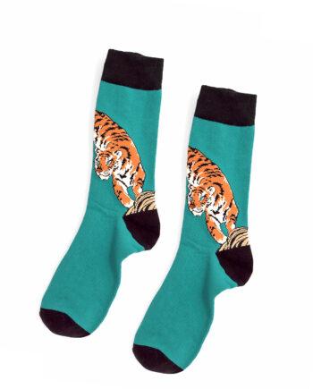 Azuurblauwe tijger sokken