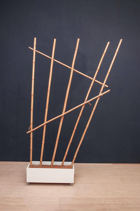 Bamboe roomdivider op wieltjes vintage jaren 60