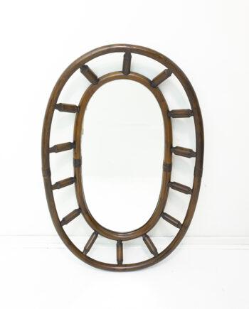 Bamboe spiegel ovaal vintage