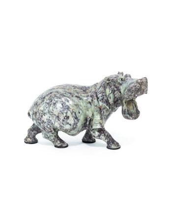 Beeld nijlpaard van natuursteen vintage