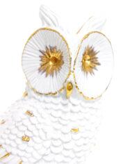 Beeld uil van wit keramiek met vergulde details vintage