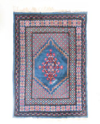 Blauw vintage vloerkleed met Perzisch patroon 293 x 213 cm