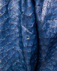 Blauwe Kansai Yamamoto jas van imitatie struisvogelleer met drakenstekels