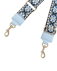 Blauwe folklore schouderband voor tassen
