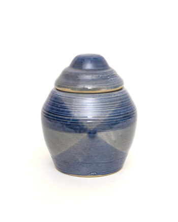 Blauwe keramieken pot met deksel vintage