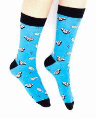 Blauwe sokken met sushi