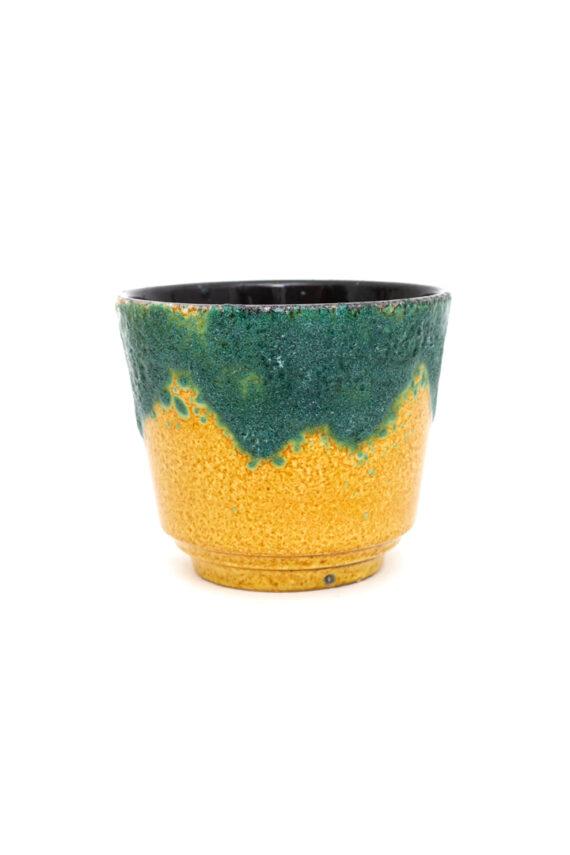 Bloempot met fat lava glazuur in geel en turkoois West-Germany vintage