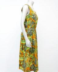 Botanische jurk met strikceintuur en groen/bruine print jaren 70