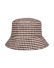 Bucket hat met pied-de-poule ruitjesprint
