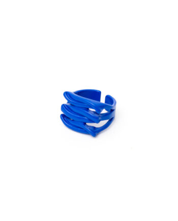 Candy color ring blauwe golven gecoat metaal