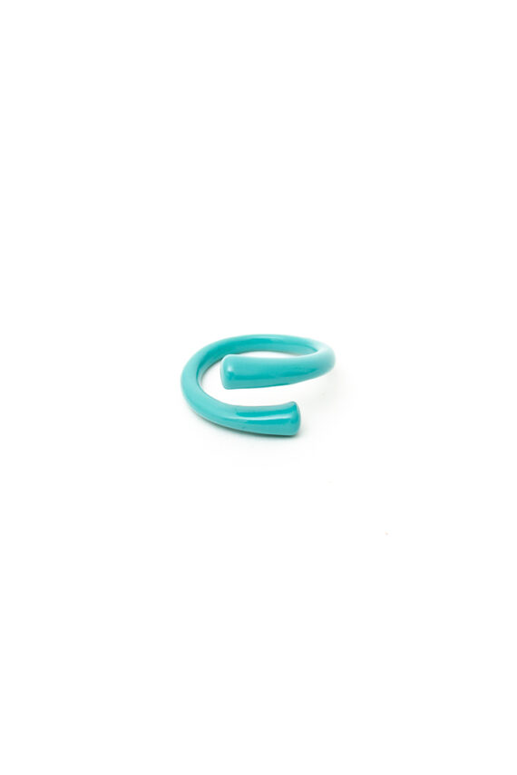 Candy color ring gecoat metaal turkoois/roze