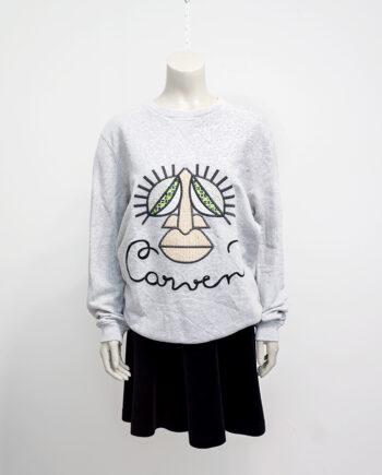 Carven sweater grijs met gezicht - unisex