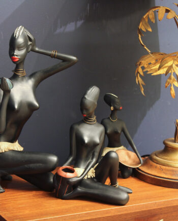 Ceramic Figurines African woman mid century Cortendorf Germany 1950 vintage