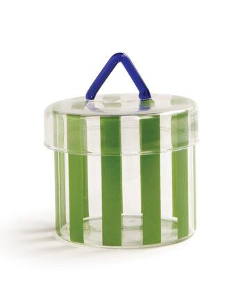Circus &Klevering glazen pot met deksel en groene strepen