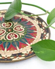 Cloissoné schotel / wandversiering groen rood wit