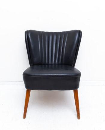 Vintage cocktailstoel zwart skai leer