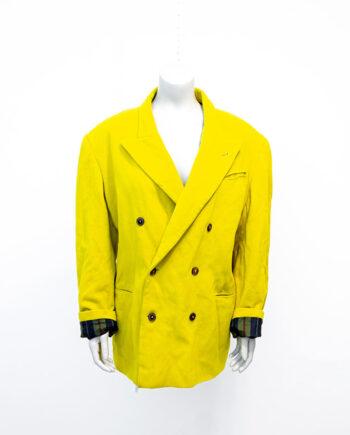 Colbert Jean Paul Gaultier Homme neon geel wol met dubbele rij knopen vintage