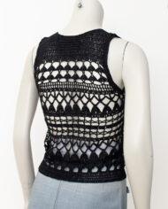 Comme des Garçons zwarte gehaakte top tricot