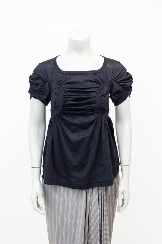 Comme des Garçons Watanabe zwart t-shirt met decoratieve rimpelingen 2008