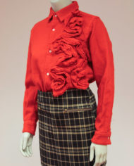 Comme-des-Garcons-rode-wollen-blouse-rusches-asymmetrisch-2