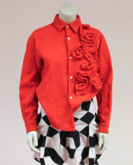 Comme-des-Garcons-rode-wollen-blouse-rusches-asymmetrisch-3