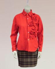 Comme-des-Garcons-rode-wollen-blouse-rusches-asymmetrisch-4