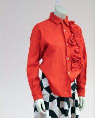 Comme-des-Garcons-rode-wollen-blouse-rusches-asymmetrisch-7