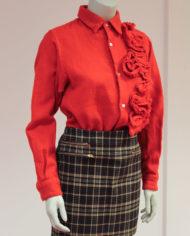 Comme-des-Garcons-rode-wollen-blouse-rusches-asymmetrisch-8