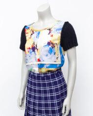 Comme des Garçons t-shirt met zijden sjaaltjes en zwarte gebreide mouwen 2002