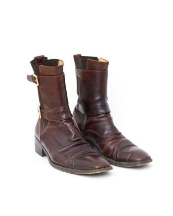 Dolce & Gabbana bruine leren heren laarzen met gespen - maat 43