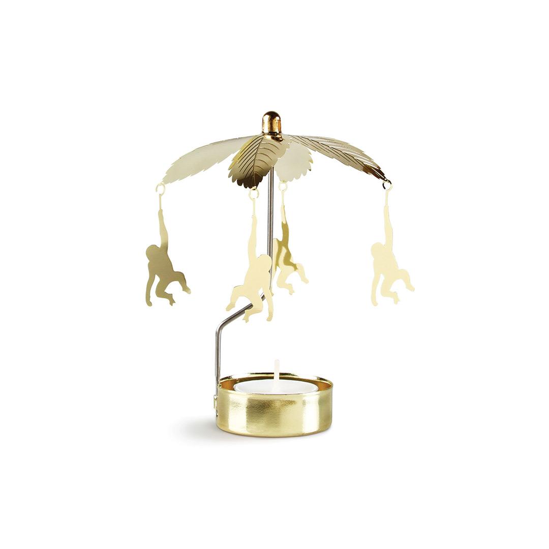 Draaiende waxinelichthouder met gouden aapjes &Klevering