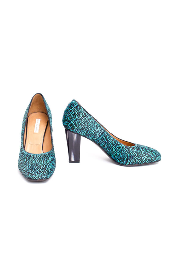 Dries van Noten 'pony hair' pumps met gevlekt patroon in turquoise en zwart