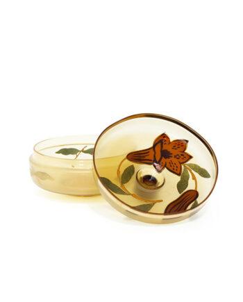 Duits schaaltje van glas met deksel en vergulde bloemdecoraties vintage