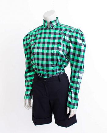 Eighties blouse groen en zwart geblokt met pofmouwen en opstaand kraagje