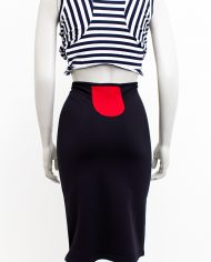 Eighties kokerrok Marithé + Francois Girbaud zwart met rode details