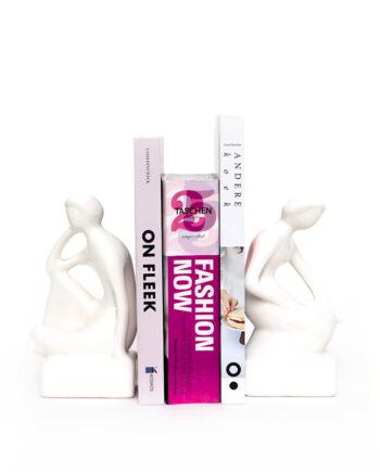 Elegante witte porseleinen boekensteunen man en vrouw – set van 2